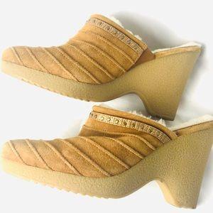 COLE HAAN camel suede clogs mules fur lined heels